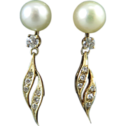 SALE 1/2ctw Diamond and Saltwater Cultured Pearl 14K Dangle Style Earrings