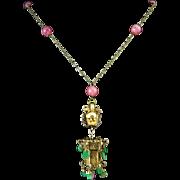 "Jade and Tourmaline Dragon Lantern Pendant Necklace 32"""