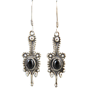 Beaded Sterling and Black Onyx Long Dangle Earrings