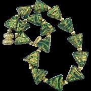 "Mid-Century Vintage Art Glass Bead Necklace 19"""