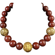 """SALE PENDING Big Red Carnelian Bead Necklace with Nepali Beads 22"""""""