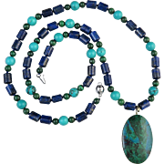 SALE Natural Chrysocolla Pendant with Lapis, Turquoise and Malachite Bead Necklace 26""