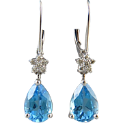 SALE 14K White Gold Blue Topaz and Diamond Earrings