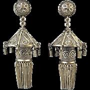 Chinese Lantern Filigree Dangle Earrings