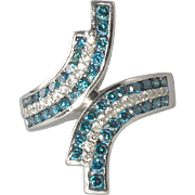 SALE 1.75ctw Blue and White Diamond Bypass Style Ring
