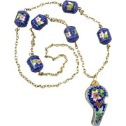Cloisonne Enamel Whistle Necklace 30""