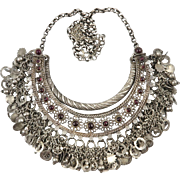 Antique Silver and Garnet Tribal Kuchi Necklace 248 Grams Silver