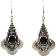 SOLD Ornate Sterling Silver and Black Onyx Tribal Style Earrings