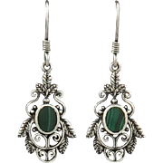 Sterling and Malachite FIligree Style Dangle Earrings