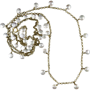 """57"""" Sterling Silver Vermeil and Cultured Coin Pearl Necklace"""