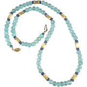 14K Peruvian Blue Opal and Blue Sapphire Necklace 23""
