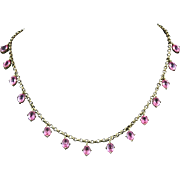 Pink Paste Crystal and 800 Silver Necklace