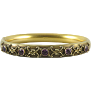 Victorian Purple Paste and 14K Gold Fill Bangle Bracelet Signed W&SB