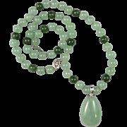 "Green Jade and Aventurine Pendant Necklace 22"""