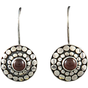 Red Carnelian and Sterling Silver Earrings