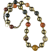 """Large Agate and Brass Bead Necklace 25"""""""