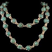 "Long Aventurine Caged Bead Necklace c1980 44"""