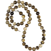 """Vintage Chinese Wood Agate Fine Quality Bead Necklace 30"""""""