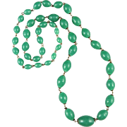 """Vintage Peking Graduated Glass Bead Chain Link Necklace 29"""""""