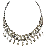 """Early Art Deco Solid Silver Filigree Tribal Style Bib Necklace 17"""""""