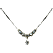 """Aquamarine and Sterling Silver Lavalier Necklace 21"""""""