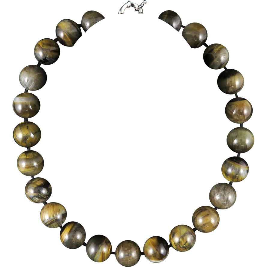 large shimmering tiger eye agate bead necklace 19 5 quot