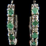 Natural Emerald and Sterling Silver Hoop Earrings