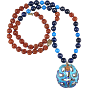 """Chinese Enamel on Silver Double Dragon with Carved Carnelian and Lapis Necklace 30"""""""