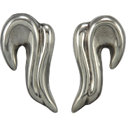Vintage Taxco Swirling Puffy Earrings in Sterling Silver