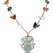 Chinese Carved Pendant with Zodiac Animals Jade Carnelian and Serpentine Necklace 28""