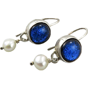Dichroic Glass and Cultured Pearl Sterling Silver Earrings