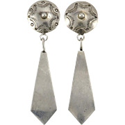 Concho and Long Sterling Dangle Earrings
