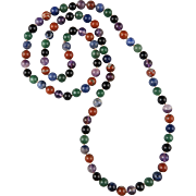 Multi Color Gemstone Bead Necklace 31""