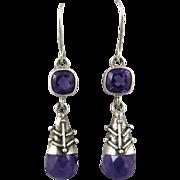 Amethyst Teardrop Dangle Earrings in Sterling Silver