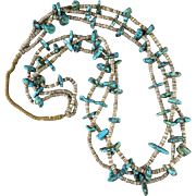 Natural Turquoise Three Strand Oyster Shell Heishi Necklace 30""