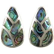 Colorful Abalone Shell Inlay Sterling Silver Earrings