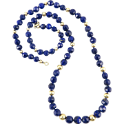 14K Faceted Gem Quality Lapis Necklace 23""