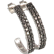 1.75ctw Black Diamond and Sterling Silver Earrings