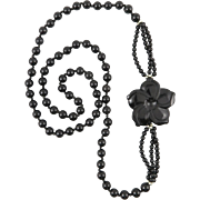 Black Onyx Flower Necklace 31""