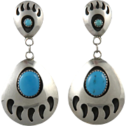 Large Sterling and Turquoise Bear Paw Dangle Earrings