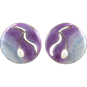 Chinese Export Enamel on Silver Cultured Freshwater Pearl Earrings