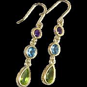 14K Multi Gemstone Sparkling Dangle Earrings