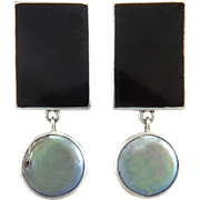 Large Geometric Onyx and Cultured Coin Pearl Sterling Silver Earrings Signed