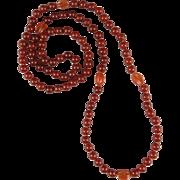 "Vintage Long Carnelian Necklace 36"""