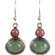 Sterling Tourmaline and Rhodonite Dangle Earrings