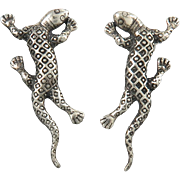 Lovely Gecko Lizard Sterling Earrings