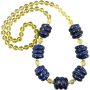 """SALE PENDING Citrine and Carved Lapis Bead Necklace 32"""""""