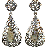 Filigree Abalone Sterling Dangle Style Earrings