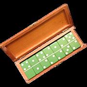 SOLD Vintage Set of 28 Green Bakelite Dominoes in Box