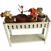 SALE PENDING Antique Dollhouse Tinplate Plant Stand German